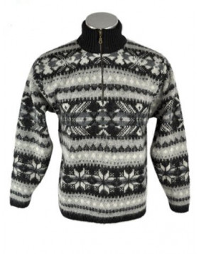Zippered Turtleneck Wool Sweater for Men