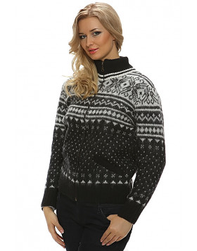Ladies zippered turtleneck cardigan