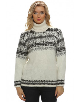 Turtleneck Wool Sweater for Women. Off-White. 100 % Icelandic wool.