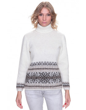 White Turtleneck Wool Sweater for Women. 100 % Icelandic wool.