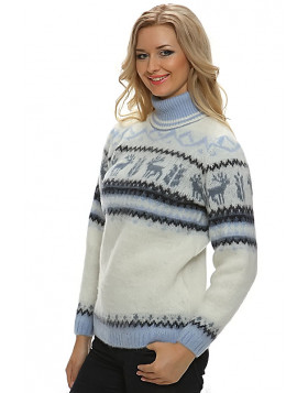 Turtleneck Wool Sweater for Women. Deer Pattern. 100 % Icelandic wool.