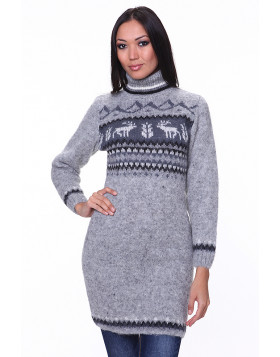 Wool Sweater Dress for Women. Grey. Turtleneck .100 % Icelandic wool.