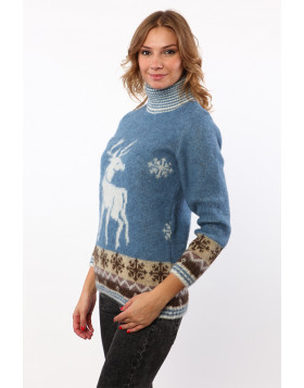 Indigo Turtleneck Wool Sweater for Women. 100 % Icelandic wool.