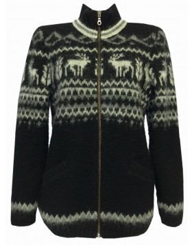 "Zip-through T-neck wool cardigan for women. ""Rain Deer"" design.  Made in Canada of 100% Icelandic Wool."