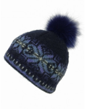 Wool toque with fur pom pom