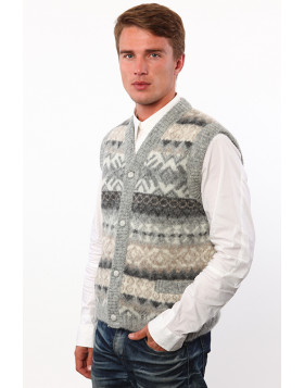 Men's Buttoned V-neck vest. 100 % Icelandic wool. Made in Canada