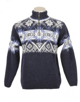 ICELANDIC WOOL MEN'S ZIPPERED TURTLENECK PULLOVER