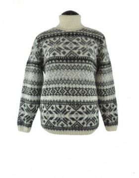 Traditional Turtleneck Wool Sweater for Women. 100 % Icelandic wool.
