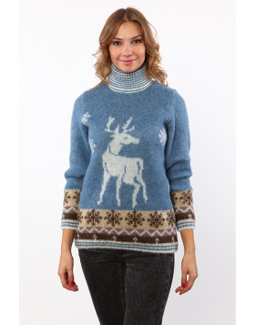 Christmas Turtleneck Wool Sweater for Women. 100 % Icelandic wool.