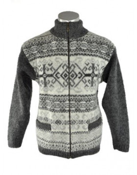 Men's zippered turtleneck cardigan. 100 % Icelandic wool.