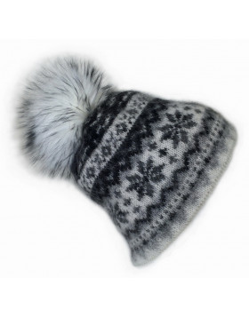 Icelandic Wool Hat / Beanie with faux pompom