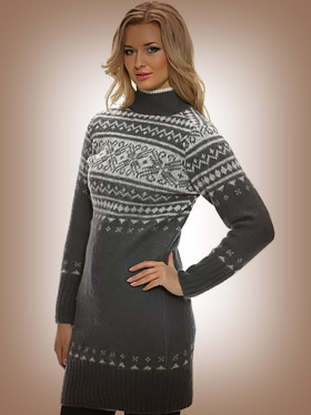 Long Wool Sweater / Dress for Women. Turtleneck