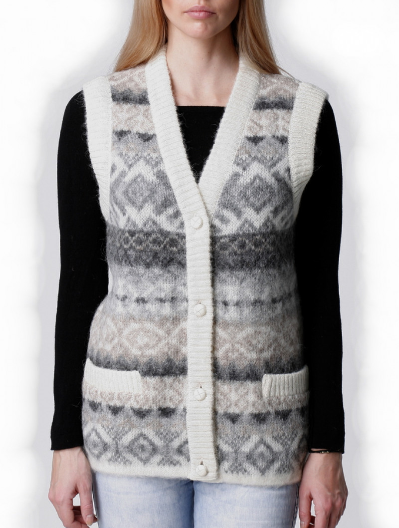 Icelandic Wool Buttoned V-neck Vest for women. Made in Canada.