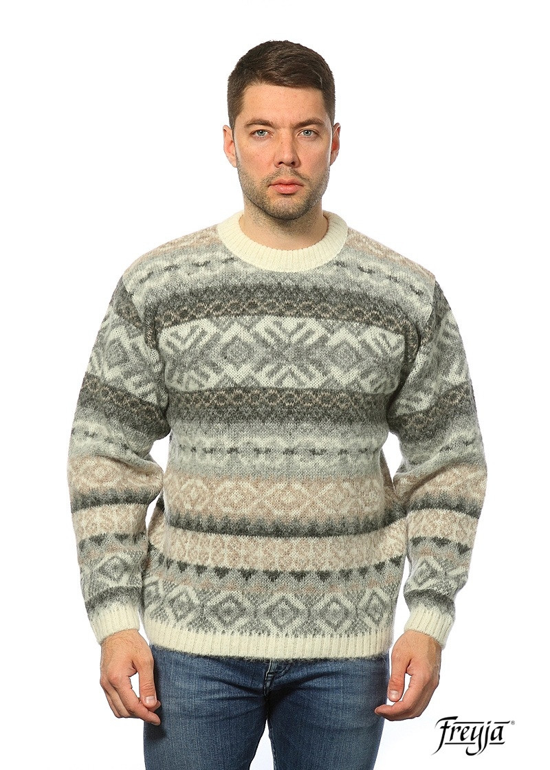 Crew Neck Wool Sweater for Men - Traditional Patterns Icelander. 100 % Icelandic Wool.