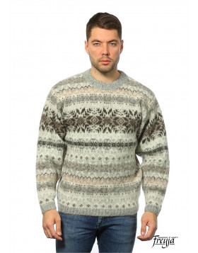 Crew Neck Wool Sweater for Men - Warm Icelander. 100 % Icelandic Wool.