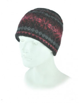 Wool Hat (Beanie) Icelandic, black and fire red