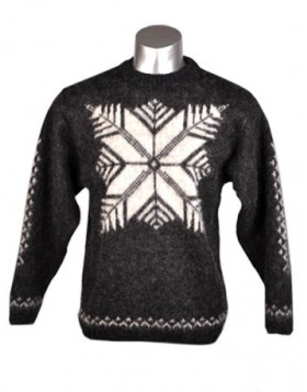 Crew Neck Wool Sweater with traditional design for Men - Icelander. 100 % Icelandic Wool