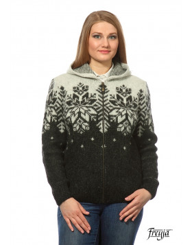 Ladies zippered cardigan with hood. 100 % Icelandic wool.