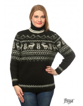 Turtleneck Wool Sweater for Women. Black. 100 % Icelandic wool.