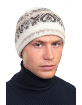 Wool Hat (Beanie) Traditional Icelandic Design beige and white