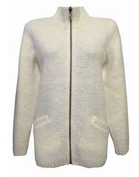 Ladies zippered turtleneck cardigan. 100 % Icelandic wool.